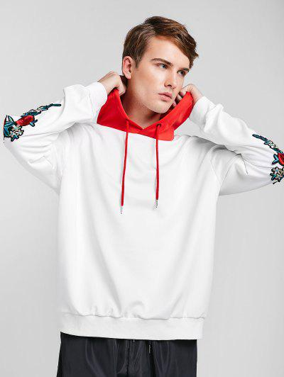 09e5b8574 ZAFUL Embroidery Applique Sleeve Drawstring Hoodie - Love Red L ...