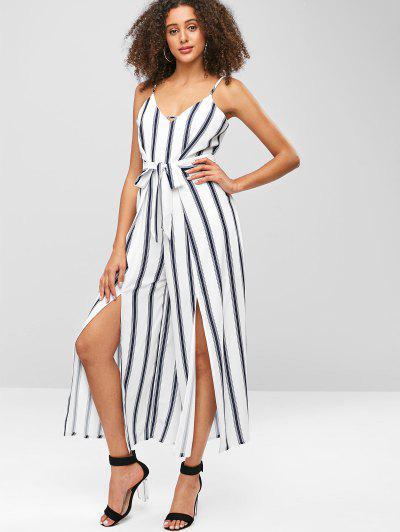 891c959fe2aa Striped Slit Wide Leg Jumpsuit - White S