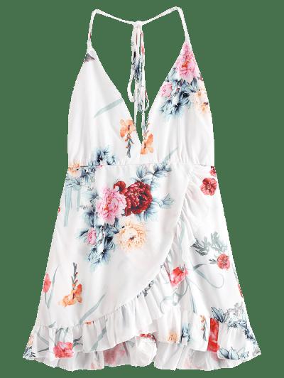 Floral Criss Cross Backless Flounce Dress, White