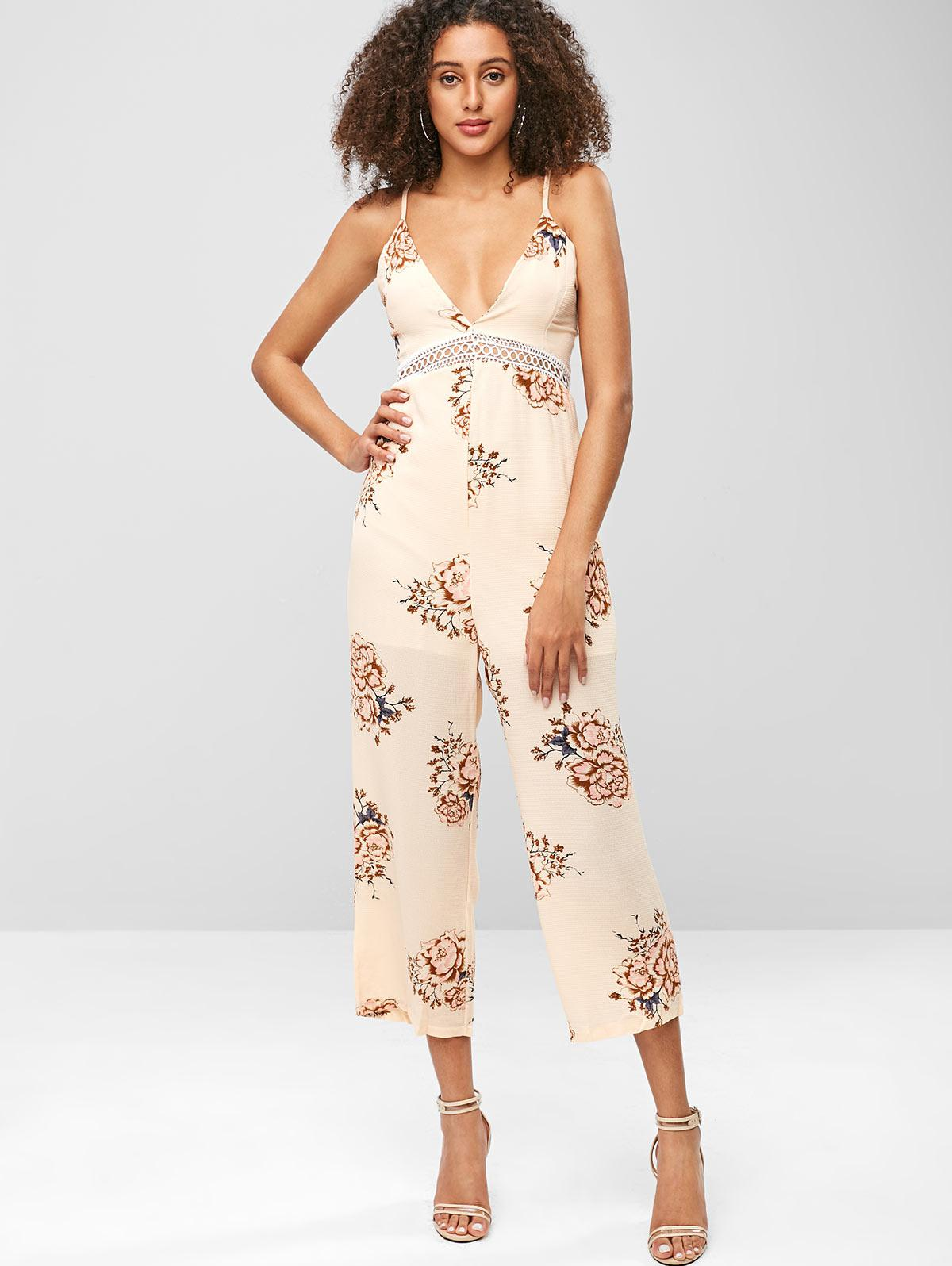 Bohemian Flower Tied Back Cami Jumpsuit