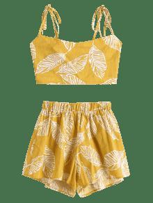 44c41bcb08 ... Conjunto de pantalones cortos estampados con cordones y estampado de  hojas ...