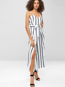 86426bbe9322 36% OFF  2019 Striped Slit Wide Leg Jumpsuit In WHITE