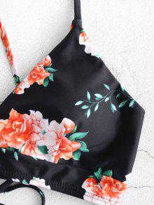56b506aa9f 14% OFF] [HOT] 2019 ZAFUL Flower Lace Up High Leg Bikini Set In ...