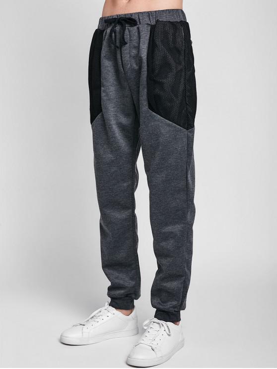 Pantalones de jogger de malla con cordón - Gris Carbón 2XL
