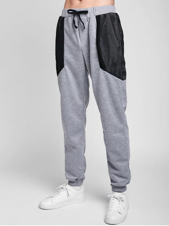 unique Drawstring Mesh Spliced Jogger Pants - LIGHT GRAY M