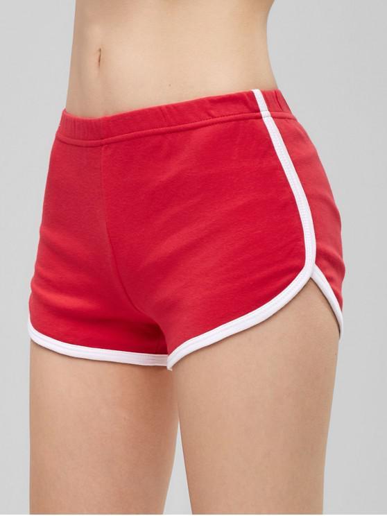 affordable Elastic Waist Ringer Shorts - RED L