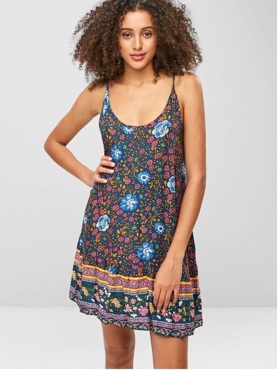 shops Floral Print Spaghetti Strap Bohemian Dress - MULTI M