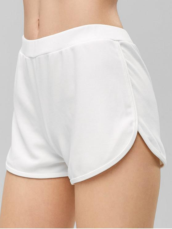 lady Ribbed Dolphin Shorts - WHITE M