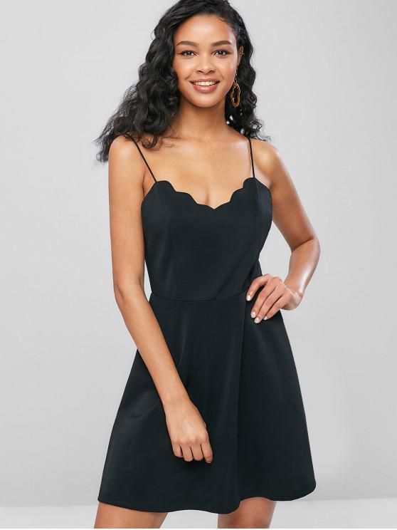 unique ZAFUL Scalloped Cami A Line Dress - BLACK S