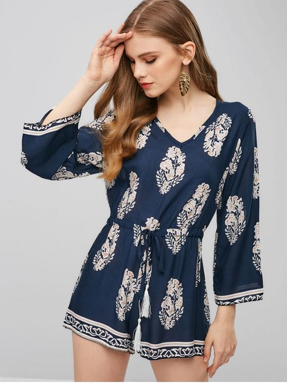 women Leaves Print V Neck Drawstring Romper - DARK SLATE BLUE XL