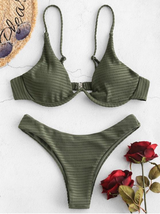 fashion ZAFUL Textured Push Up Underwire Bikini Set - CAMOUFLAGE GREEN L