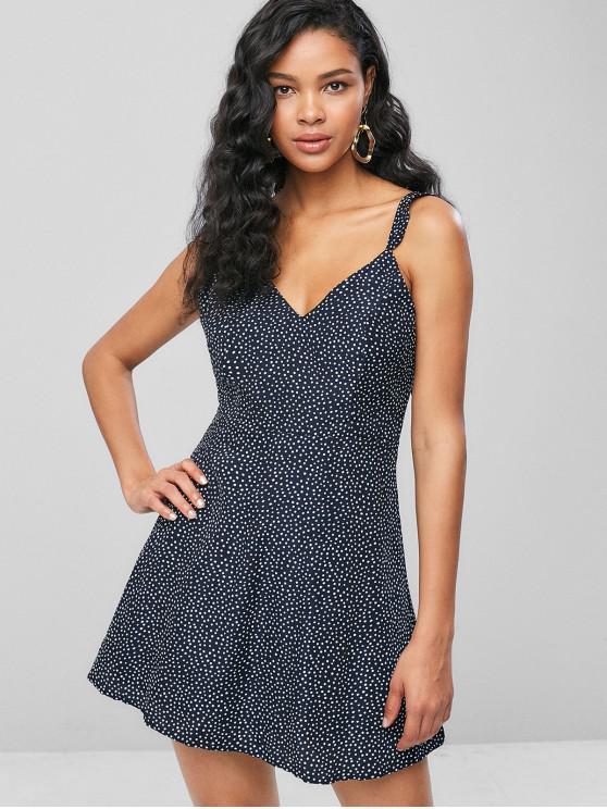 ladies Ruffles Polka Dot A Line Dress - DEEP BLUE L
