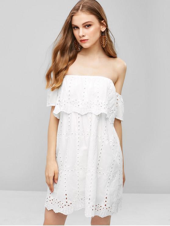 Schulterfreies Overlay-Kleid mit Ösen - Weiß M