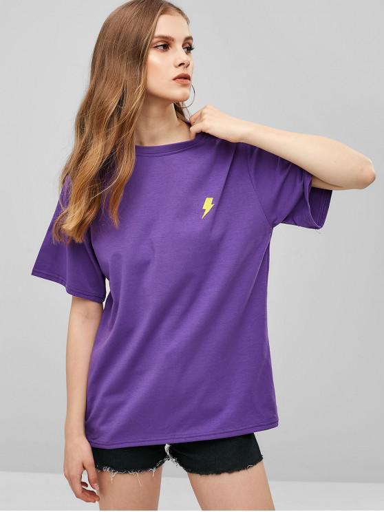 T-shirt Bouffant Brodé - Pourpre  M