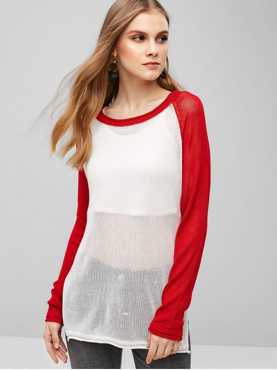 best ZAFUL Raglan Sleeve Two Tone Sweater - MILK WHITE ONE SIZE