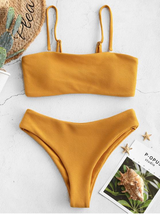 unique ZAFUL Textured Bandeau Bikini Set - BEE YELLOW M