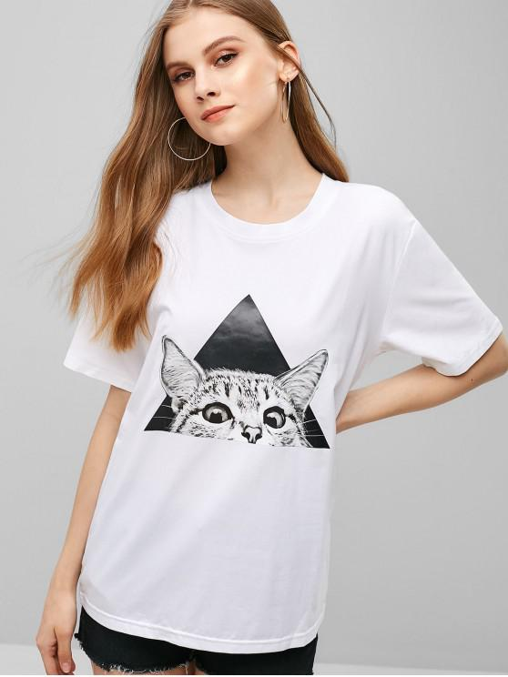 outfits Short Sleeve Cute Cat Graphic Tee - MILK WHITE L
