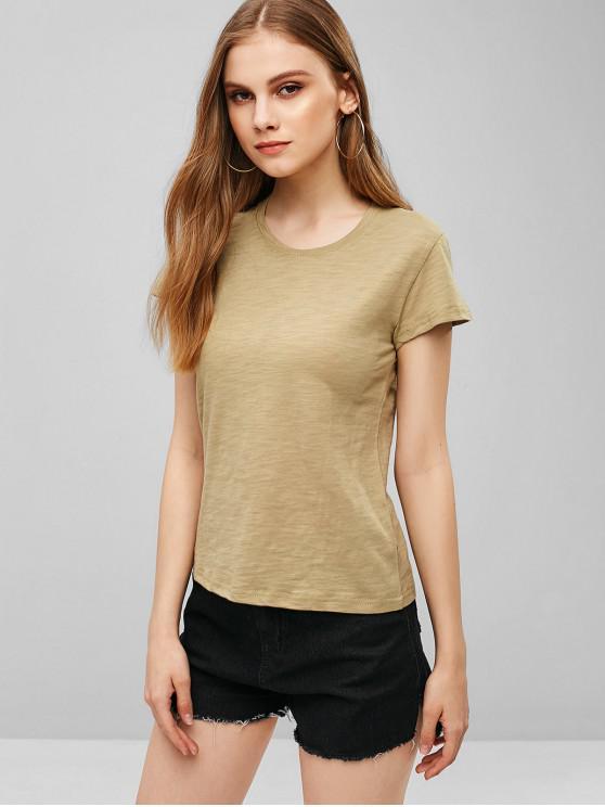 lady Casual Short Sleeve Plain T-shirt - TAN ONE SIZE