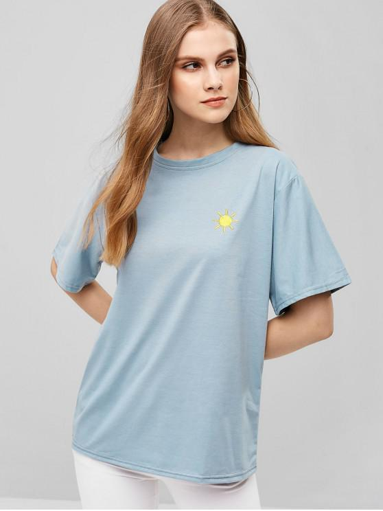 new Sun Embroidered Relaxed Tee - BABY BLUE M
