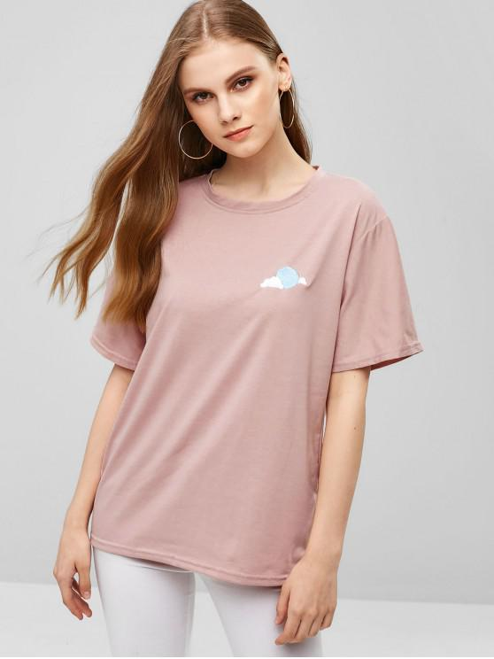 online Straight Cut Cloud Embroidered Tee - LIGHT PINK XL
