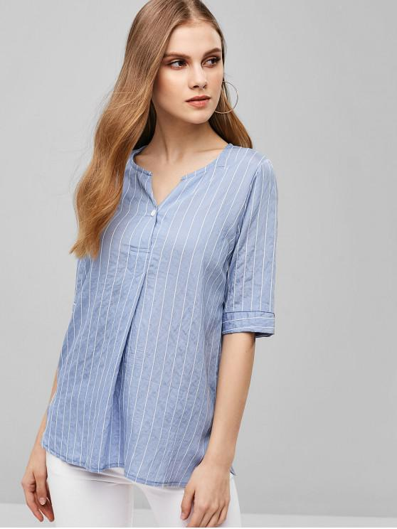 b0696fedb31 18% OFF] [NEW] 2019 Striped V Neck Slit Tunic Blouse In BLUE | ZAFUL ...