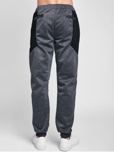 Pantalon de Jogging en Maille Jointif à Cordon - Gris Carbone 2XL Mobile