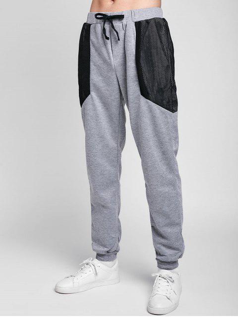 buy Drawstring Mesh Spliced Jogger Pants - LIGHT GRAY 2XL Mobile