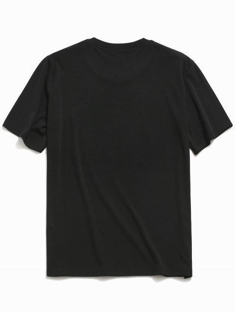 Camiseta estampada con estampado de dibujos animados de manga corta - Negro M Mobile