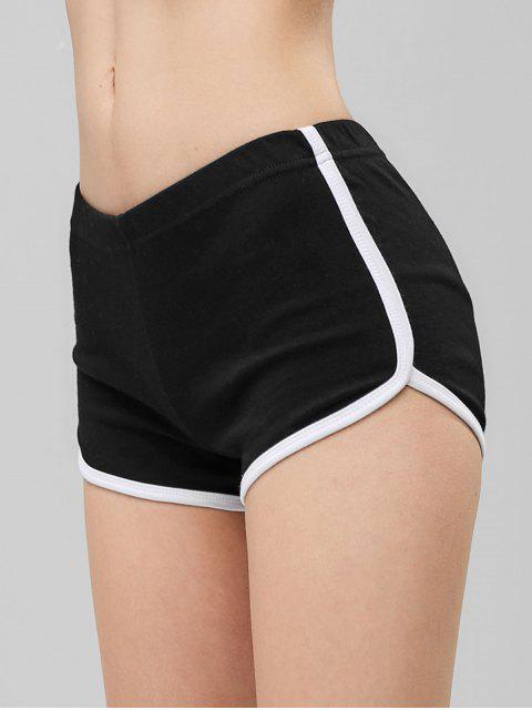 chic Elastic Waist Ringer Shorts - BLACK S Mobile