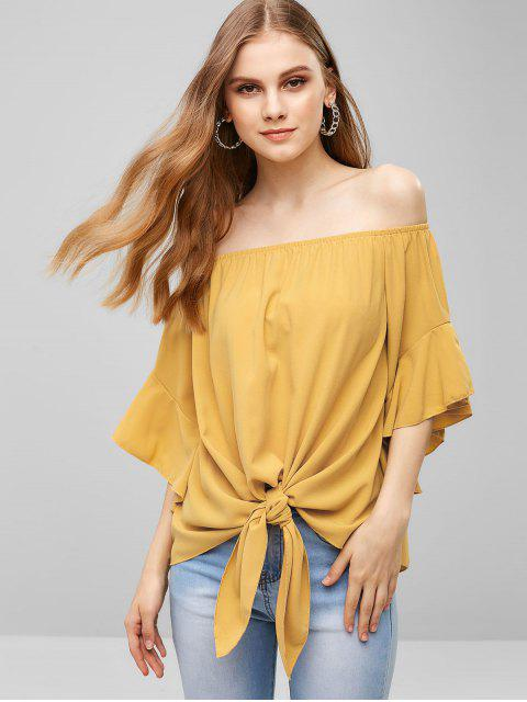 shops Off Shoulder Flare Sleeves Knotted Blouse - YELLOW L Mobile