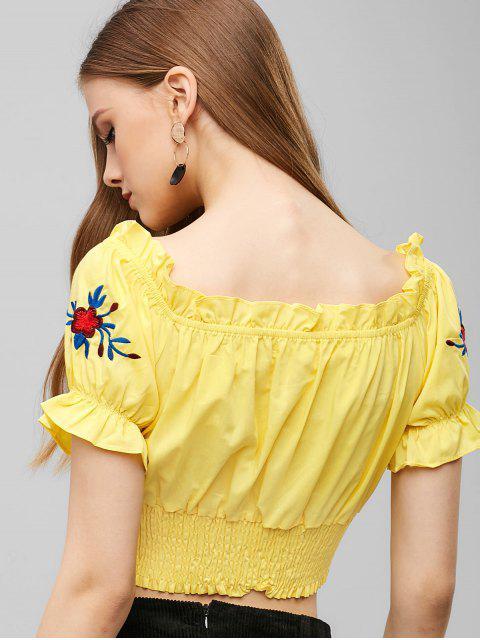 buy Shirred Floral Embroidered Crop Top - GOLDENROD S Mobile