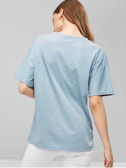 Camiseta relajada bordada sol - Azul Claro M Mobile