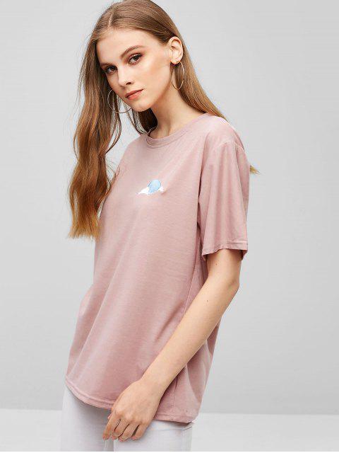 Camiseta bordada en forma de nube con corte recto - Rosa Claro XL Mobile