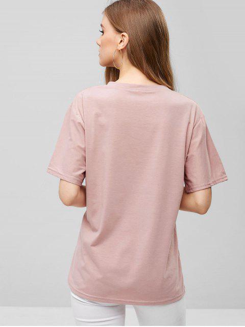 Camiseta bordada en forma de nube con corte recto - Rosa Claro 2XL Mobile