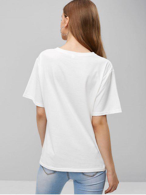 Camiseta holgada bordada lluvia de nubes - Blanco XL Mobile