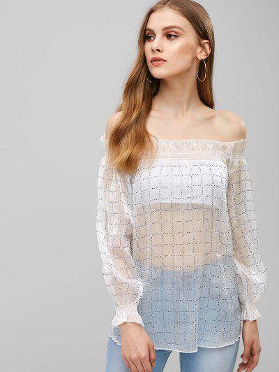 c01738750efac Rinestone Checkered Off The Shoulder Top - White