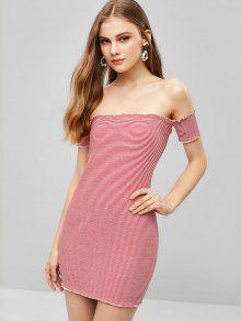 938d97be7b0 29% OFF  2019 Off Shoulder Striped Ribbed Mini Dress In MULTI