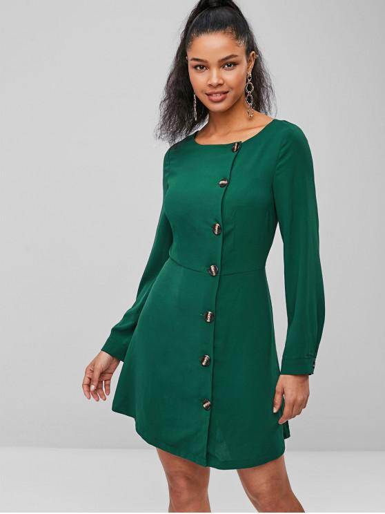 shop ZAFUL Button Fly Short Long Sleeve Dress - GREEN L