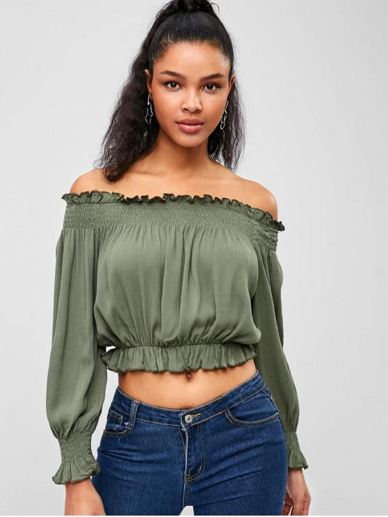 33974945f2 30% OFF   HOT  2019 Frilled Crop Top In ARMY GREEN