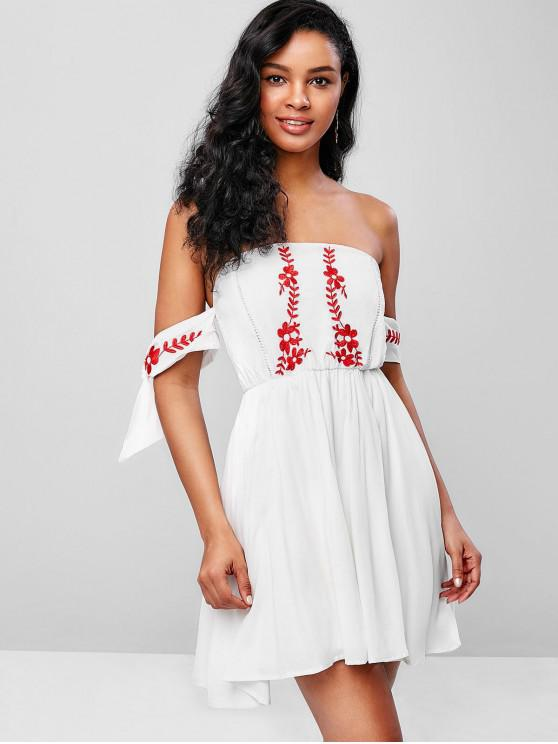 trendy Tie Sleeves Floral Embroidered Flare Dress - WHITE M
