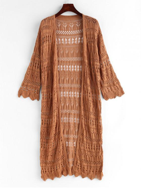 womens Openwork Collarless Knit Cover Up - CARAMEL ONE SIZE