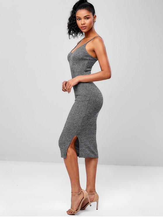 trendy Ribbed Midi Slip Dress - GRAY ONE SIZE