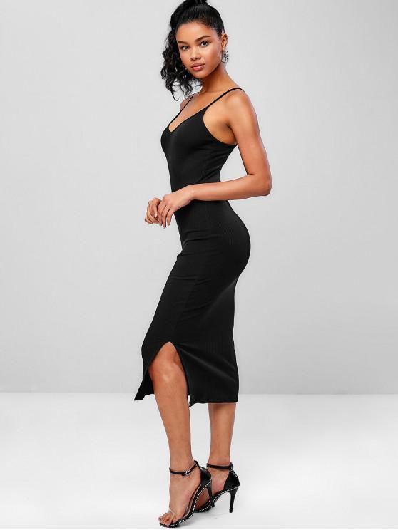 fancy Ribbed Midi Slip Dress - BLACK ONE SIZE