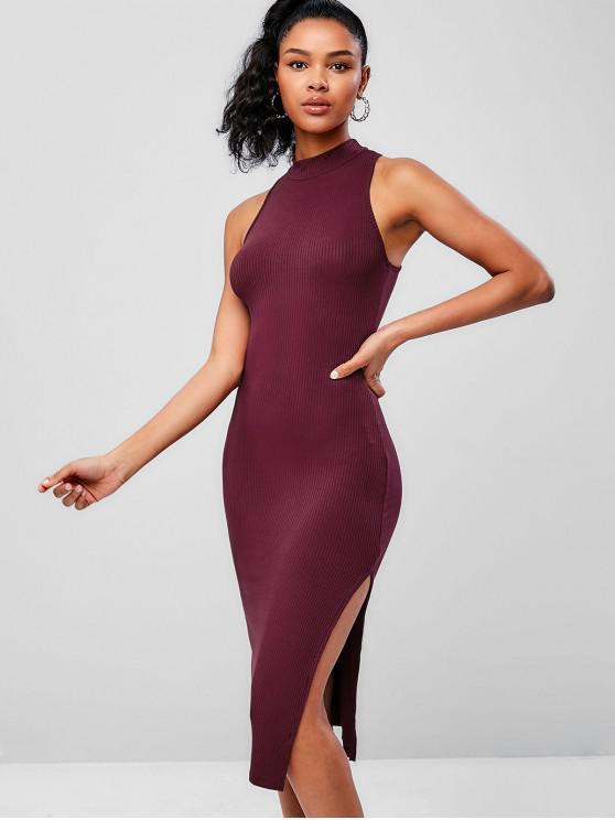 buy Mock Neck Split Side Ribbed Pencil Dress - MAROON ONE SIZE