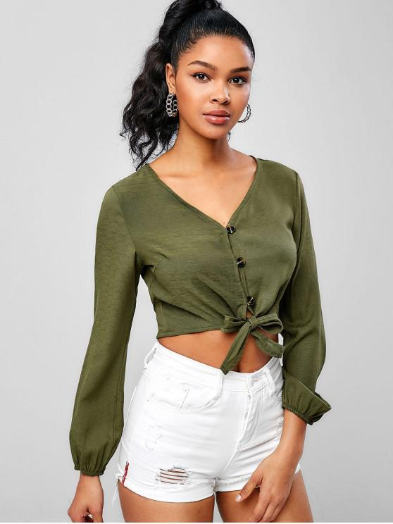 womens Self-tie Crop Blouse - ARMY GREEN L