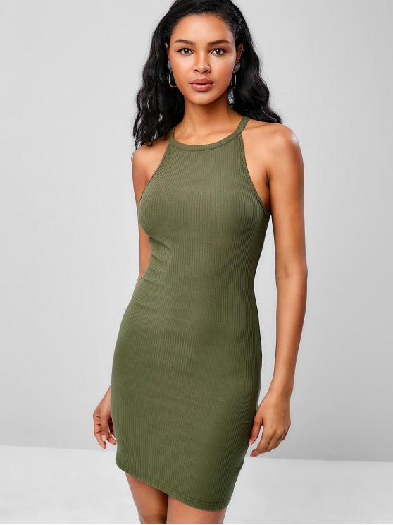 womens Cami Ribbed Bodycon Dress - ARMY GREEN ONE SIZE