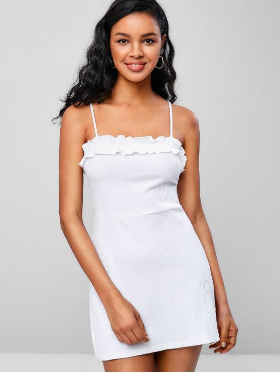 best Ribbed Lettuce Trim Cami Mini Dress - WHITE M