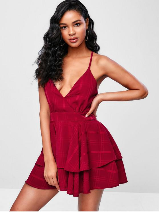 sale Criss Cross Plaid Layered Cami Dress - RED WINE M