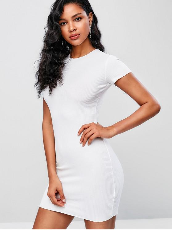 womens Ribbed Short Bodycon Dress - WHITE ONE SIZE