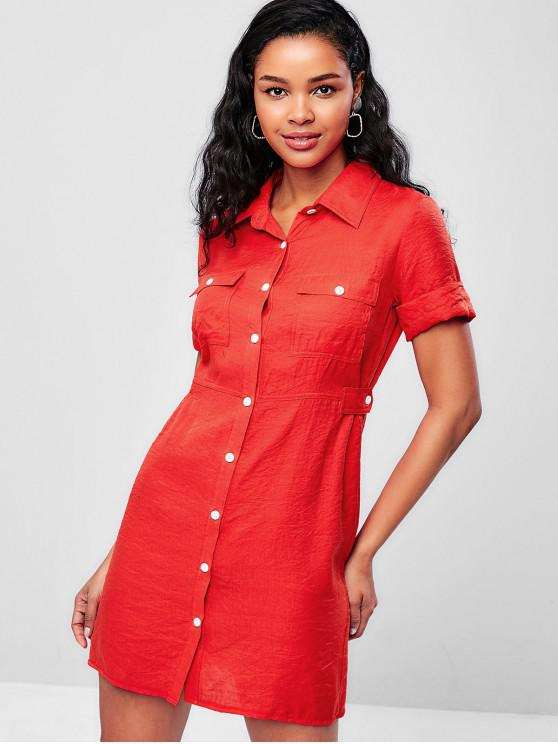 chic ZAFUL Button Down Flap Pockets Shirt Dress - BRIGHT ORANGE M